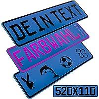L & P Car Design FKZ 1 Stück Fun Kennzeichen 52cm x 11cm Wunschtext Bohrung Beschichtungsfarbe Individuell…