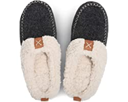 LongBay Women's Moccasin Slippers Woolen Felt Upper with Warm Soft Plush Lining Slip on House Shoes
