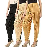 Buy That Trendz Combo Offer (Pack of 3) Cotton Viscose Lycra Dhoti Patiyala Salwar Harem Bottoms Pants for Womens (White, Rani Pink, Black)