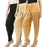Buy That Trendz Combo Pack of 3 Cotton Viscose Lycra Dhoti Patiyala Salwar Harem Bottoms Pants for Womens White, Rani Pink, B