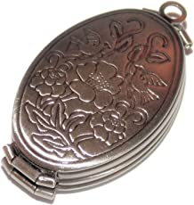 Antique Bird Print Four Fold Picture Photo Locket/33mm by 20mm/Brushed Silver Tone Metal Alloy