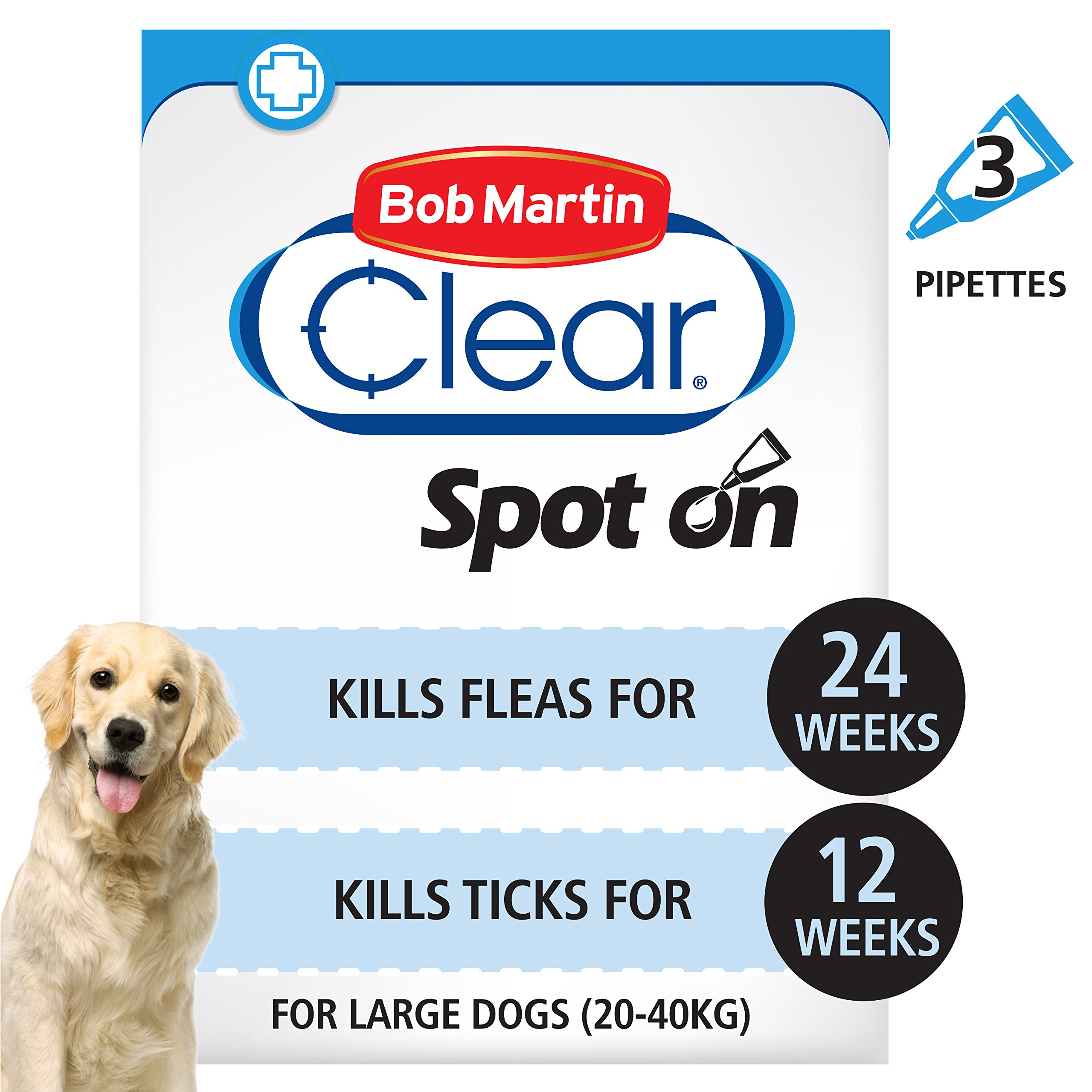 Bob Martin Clear | Spot On Flea Treatment for Large Dogs (20-40 kg) | Kills Fleas, Ticks & Lice | Fast Control, 24 Week…