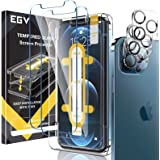 EGV Screen Protector Compatible with iPhone 12 Pro Max 6.7 Inch, 6 Pack, 3 Tempered Glass Film and 3 Camera Lens Protector an