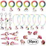 Birthday Party Bag Fillers, Unicorn Gifts Rainbow Necklace Bracelet, Finger Ring, Keyring, Ponytail Holder, Hairpin…