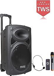 DYNASONIC - Dynapro - Altavoz Inalámbrico Sistema Audio Profesional Megafonia Portatil TWS | Lector USB Bluetooth Radio FM y
