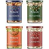 PrettyNutty Dry Fruits Combo Pack - (100g * 4) 400g (Almonds, Cashews, Pistachios, Raisins) All Premium.