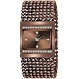 Shocknshop Jewelry Gold Plated Crystal Flower Women Bracelet Watch Analogue Women's Watch (Brown Dial Brown Colored Strap)
