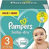 Pampers Couches Baby-Dry Taille 3 (6-10kg) Jusqu'à 12h Bien Au Sec et avec Double-Barrière Anti-Fuites, 198 Couches (Pack 1 M