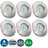 LED Badeinbaustrahler ultra flach inkl. 6 x 5W LED Modul 230V IP44 LED Einbauleuchte Bad Deckenspot Einbaustrahler Bad Einbauspot warmweiss 6 x 400lm