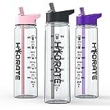 Hydrate Trinkflasche mit Strohhalm und Tageszeit-Markierung (engl. System), BPA-frei, 900 ml