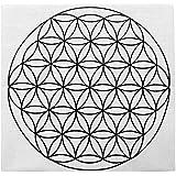 Jovivi 35 * 35cm-Tissu de Coton Crystal Grid Cloth Imprimé Fleur de Vie/Graine de Vie/Cube de Metatronpour Géométrie…