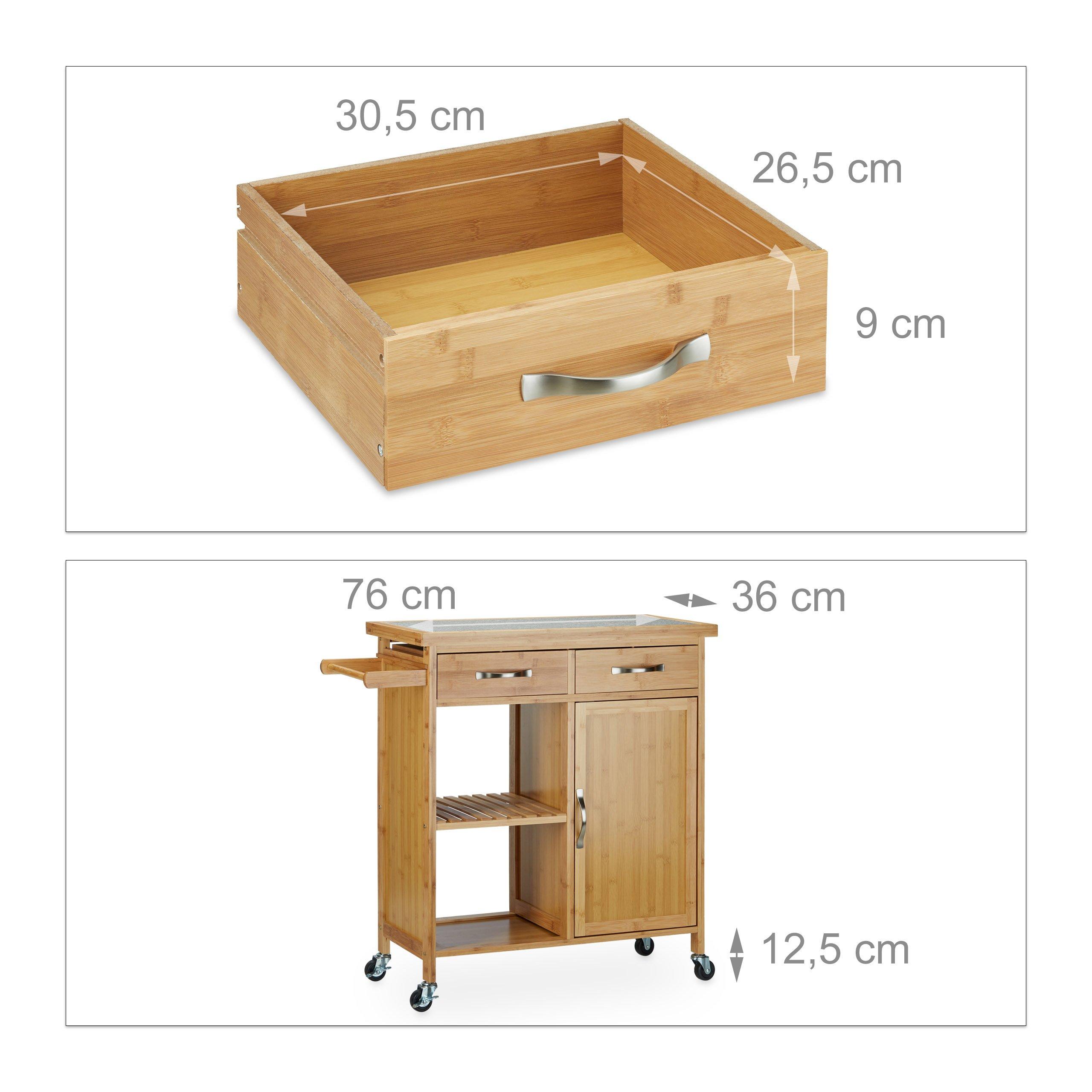 Relaxdays Kuchenwagen Holz Bambus 4 Rollen Arbeitsplatte Aus