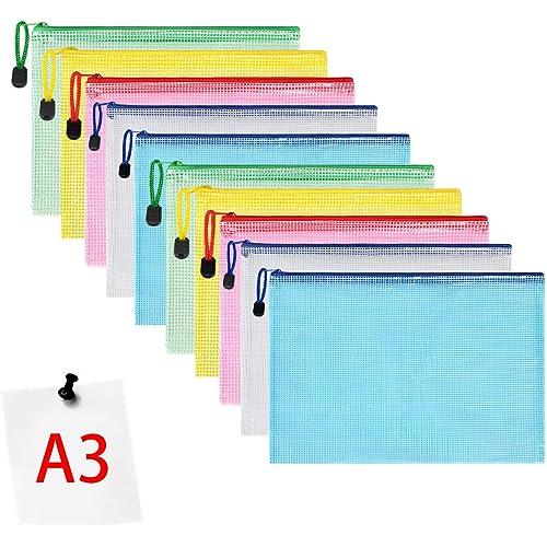 Vicloon Borse di File, A3 Sacchetto di Zip Impermeabile Mesh Sacchetto del Documento per Uffici Cosmetici Forniture Accessori da Viaggio, 5 Colori (10pcs)