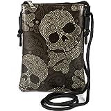 styleBREAKER Damen Mini Bag Umhängetasche mit Totenkopf Paisley Print, Schultertasche, Handtasche, Tasche 02012365