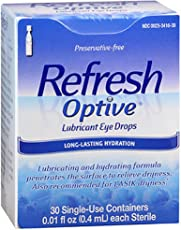 4 Pack - Refresh Optive Lubricant Eye Drops Long-Lasting Hydration Single Use Containers 30 ea