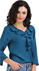AELO Women's Crepe Frill Top - (Sea Blue)