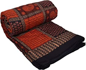 Cloud Mart Jaipuri Pure Cotton AC Razai Printed King Size Winter Quilt Blanket(Red)