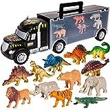 HERSITY Barndinosaurier bärarbil med 12 st djur- och dinofigurer set, biltransportleksak, gåvor för 3 4 5 6 år pojkar småbarn