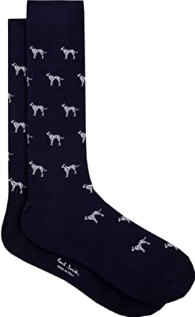 """PAUL SMITH """"Dalmation"""" Mens Cotton One Size Socks Blue with Black & White Dalmation Dogs"""