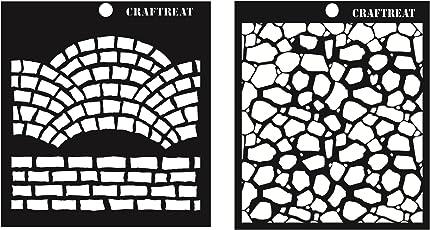 "CrafTreat Fancy Bricks & Stone Background Stencil 6""X6"""