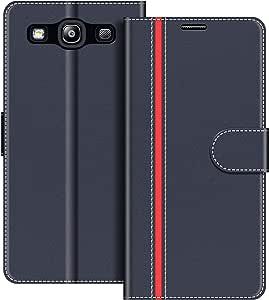 COODIO Custodia per Samsung Galaxy S3, Custodia in Pelle Samsung Galaxy S3, Cover a Libro Samsung S3 Magnetica Portafoglio per Samsung Galaxy S3 / S3 Neo Cover, Blu Scuro/Rosso