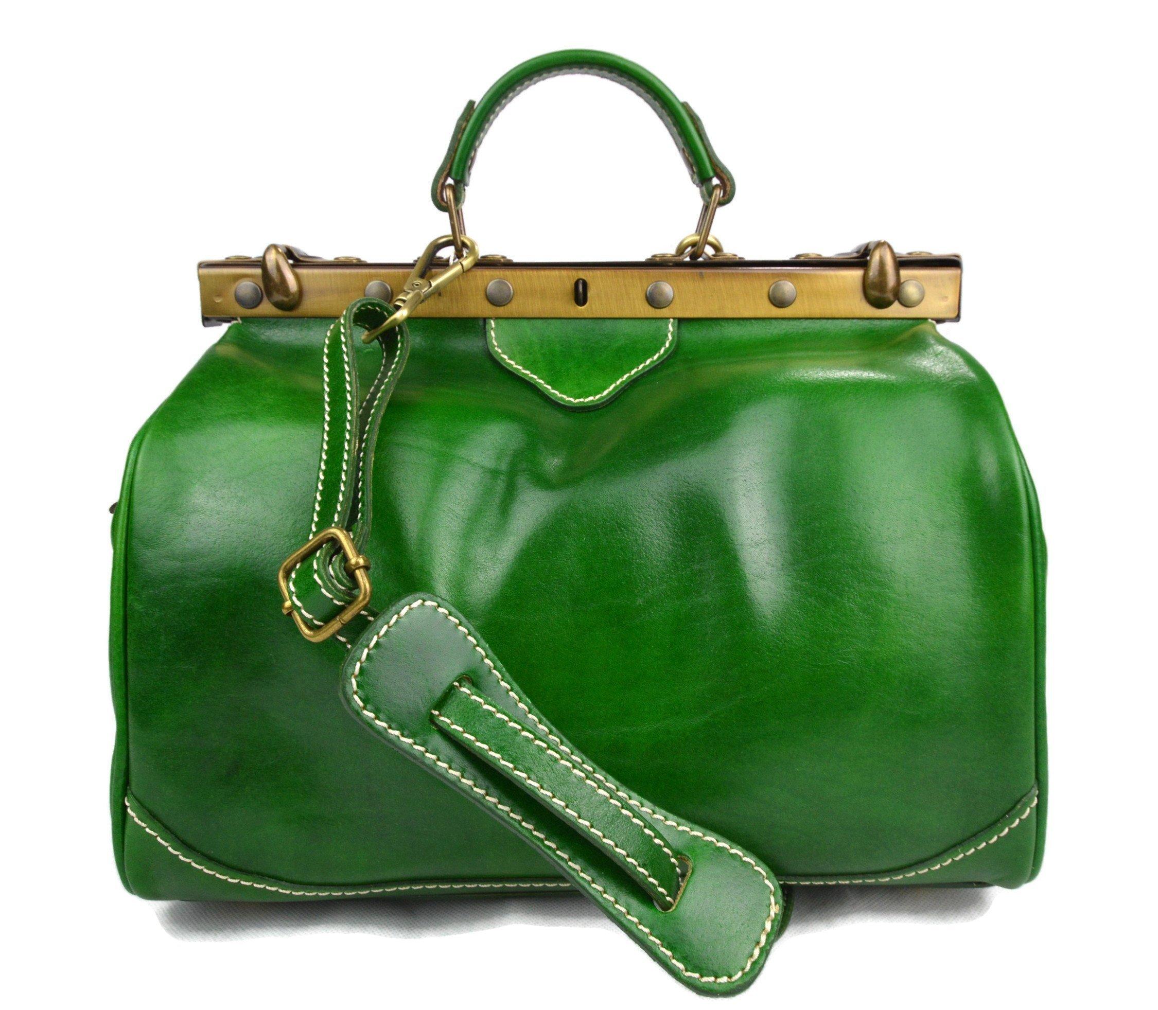 Ladies leather handbag doctor bag handheld shoulder bag medical purse green made in Italy - handmade-bags