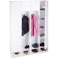 Relaxdays Étagère cubes rangement penderie armoire 18 compartiments plastique chaussures modulable, Blanc, 36.5 x 145 x…