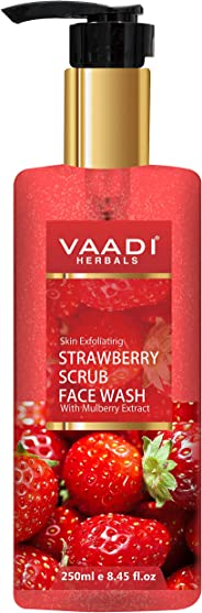 Vaadi Herbals Strawberry Scrub Face Wash With Mulberry Extract, 250 ml