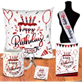 ODDCLICK Micro Fibre Cushion Cover with Filler, Mug, Keychain, Greeting Card, Birthday Sash Set, 12x12 Inch, 5 Pieces, Polyco