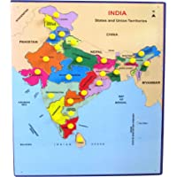 EtsiBitsi Wooden Jigsaw Puzzle India Map 12 x 16 Inches, Puzzle Game for Kids