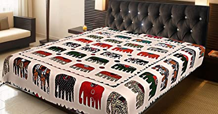 Traditional Ethnic Kantha Indian Bed Throw Double Off White Applique Patchwork Elephant Traditional Blanket Bedding Quilt Bed Cover Coverlet by Stylo Culture
