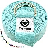Tumaz yogabälte/yogabälte för fysisk terapi, hemträning, daglig stretching med extra säkert justerbart D-ringspänne, hållbart