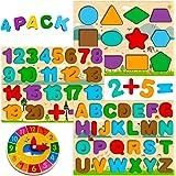 Puzzle Bois Enfant 3 4 5 Ans, 4 en 1 Jouet Montessori avec Alphabet Numérique Forme Horloge, Jouet Éducatif Préscolaire Appre