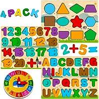 Puzzle Bois Enfant 3 4 5 Ans, 4 en 1 Jouet Montessori avec Alphabet Numérique Forme Horloge, Jouet Éducatif Préscolaire…