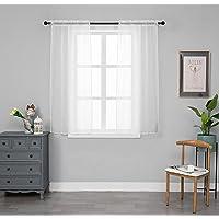 Paire de rideaux en voile blanc, transparent, motif treillis doré, pour salon, chambre, porte, fenêtre, balcon, 2…