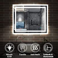 AICA sanitaire Miroir de Salle de Bain 60x50cm Anti-buée Miroir Mural avec éclairage LED modèle Carré 3.0