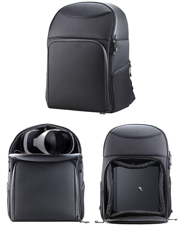Navitech robuste transport noir sac à dos / sac à dos / cas pour PS4 Pro et PSVR