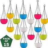 Leafy Tales Cane Basket, Plastic Hanging Pot, Multicolour, 17 x 12 x 32 cm, 15 Pieces