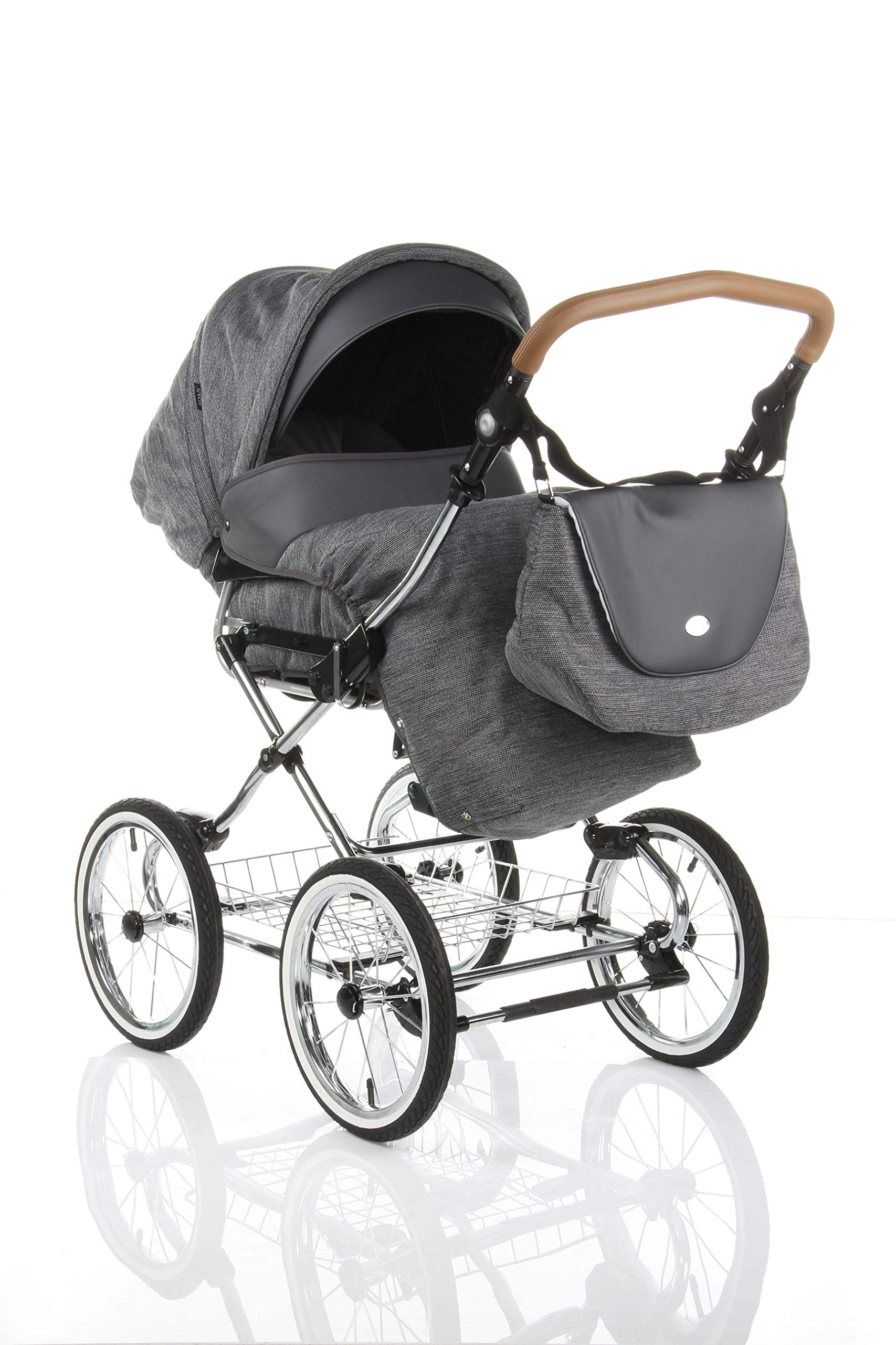 Children's Pram Buggy Stroller Combination Car seat Classic Retro Baby Carrier ROAN Emma (E-81 Dark Grey Melange-Grey Leather, 2IN1) JUNAMA Frame / wheels Sturdy and lightweight aluminum frame construction with folding function 1-click system for easy assembly and disassembly Practical carrying handle for easy storage of the folded frame Wheels for inflating (14 inch) removable wheels Brake system with central brake Height-adjustable push handle - 10-fold matching shopping basket Dimensions folded with wheels: 86 x 60 x 40 cm folded without wheels: 76 x 60 x 26 cm Total height of the stroller to hood top: 106 cm Height of the tub from the ground: 60 cm Wheelbase External dimensions: 80x 58 cm Variable height of the push handle: 77- 119 cm Weight of the frame incl. Wheels and carrying bag 15 kg Carrycot Length and width of carrycot outside: 88 x 42 cm Carrying bag length and width inside: 76 x 35 cm Sturdy plastic tub with comfortable mattress and side protection Ventilation slots on the plastic tub The baby car seat 0-13 kg Maxi-Cosi in black incl. Adapter 7