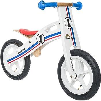 Bikestar Bicicletta senza pedali in legno 3-4 anni per bambino et bambina ★ Bici senza pedali bambini 12 pollici ★ Bianco Azzurro Rosso