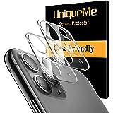 UnqiueMe Kompatibel med iPhone 11 Pro/iPhone 11 Pro Max [2-pack] kameralinsskydd, [bubbelfri] Ultra klar tunn härdat glas skä