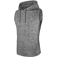 WHCREAT Mens Sleeveless Hoodie Running Hooded Tank Top Training Shirt Sport Vest