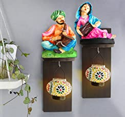 Tied Ribbons Rajasthani Figurines On Wall Hanging with Tealight Hanger