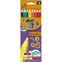 BIC Kids Jumbo, 8 Buntstifte inklusive Jumbo Anspitzer, Dicke Dreikant-Malstifte mit weicher Mine ab 3 Jahre