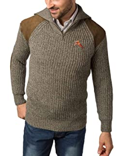 Pheasant Embroidered Shooting V Neck Wool Jumper Hunting Sweater Pullover Brown