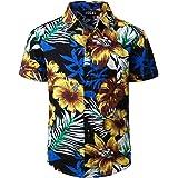 JOGAL Big Boy's Summer Floral Casual Button Down Short Sleeve Beach Hawaiian Shirt