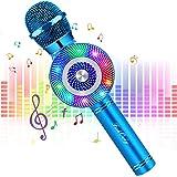 FISHOAKY Mircophone Karaoke sans Fil, 4 en 1 Portable Micro Karaoké Bluetooth pour Enfants Adultes Chanter, Fête, Enregistrem