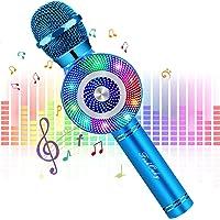 FISHOAKY Mircophone Karaoke sans Fil, 4 en 1 Portable Micro Karaoké Bluetooth pour Enfants Adultes Chanter, Fête…