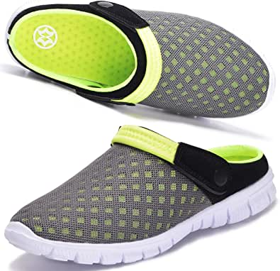 Hsyooes Garden Clogs Mens Womens Summer Breathable Mesh Slippers Yard Mule Non-Slip Outdoor Beach Sandals Unisex Casual Sports Shoes