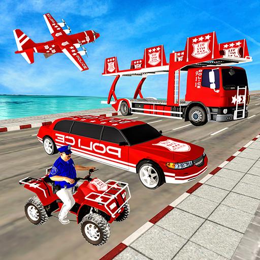 US Police Quad Bike limousine Car Transporter Game -